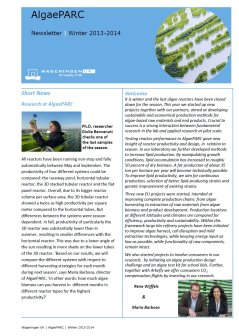 AlgaePARC Newsletter, Winter 2013-2014